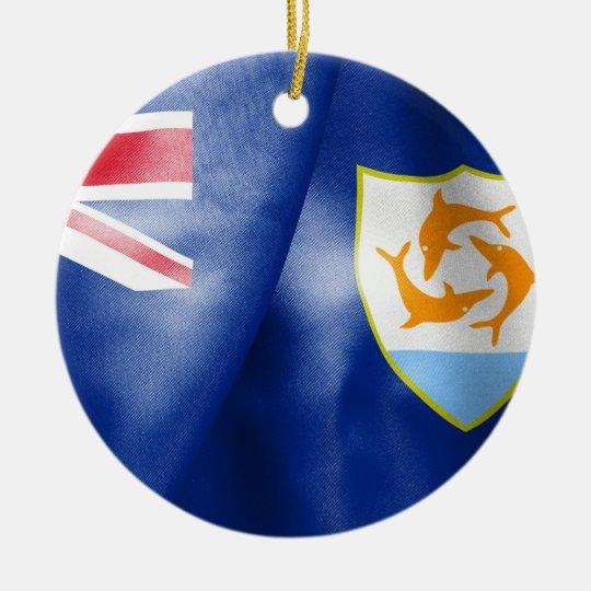 Bandeira Prnament cerâmico redondo de Anguilla Ornamento De Cerâmica Redondo