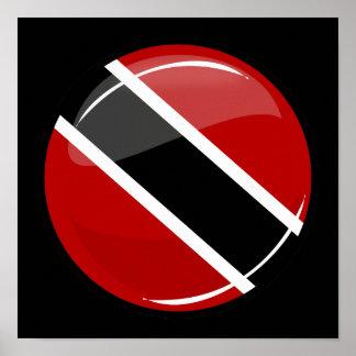 Bandeira redonda lustrosa de Trinidad and Tobago Pôster