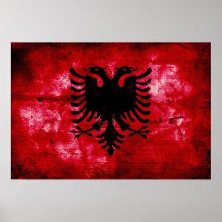 Bandeira resistida de Albânia Pôsteres