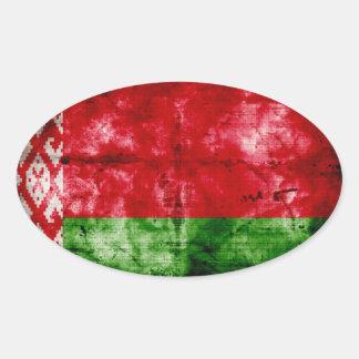 Bandeira resistida de Belarus Adesivo Oval