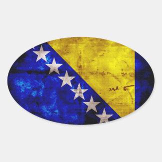 Bandeira resistida de Bósnia Adesivo Oval