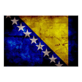 Bandeira resistida de Bósnia Posters
