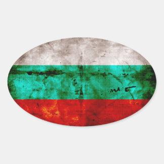 Bandeira resistida de Bulgária Adesivo Oval