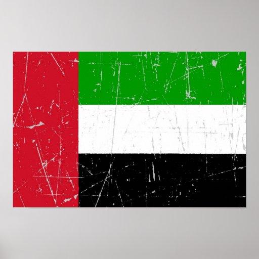 Bandeira riscada arrastada de United Arab Emirates Impressão