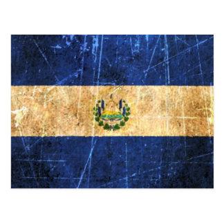 Bandeira riscada e vestida de El Salvador do vinta Cartões Postais