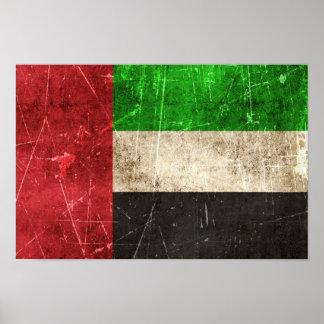 Bandeira riscada vintage de United Arab Emirates Posteres