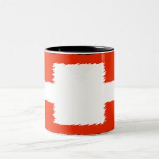 Bandeira suíça caneca de café em dois tons