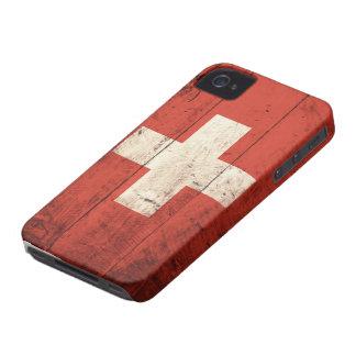 Bandeira suíça de madeira velha capinhas iPhone 4