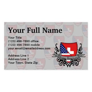 Bandeira Suíço-Americana do protetor Modelo De Cartões De Visita
