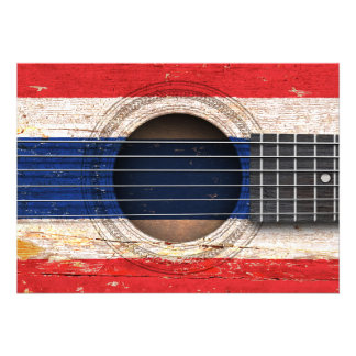 Bandeira tailandesa na guitarra acústica velha convite personalizados