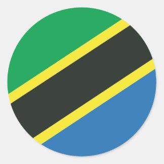 Bandeira tanzaniana adesivo redondo