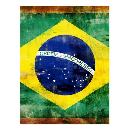 Bandeira velha de Brasil Cartao Postal