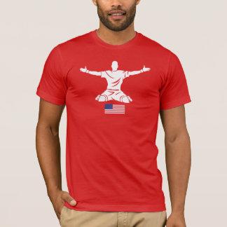 Bandeira vermelha dos EUA do t-shirt do roupa de Camiseta