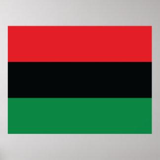 Bandeira vermelha, preta e verde impressão