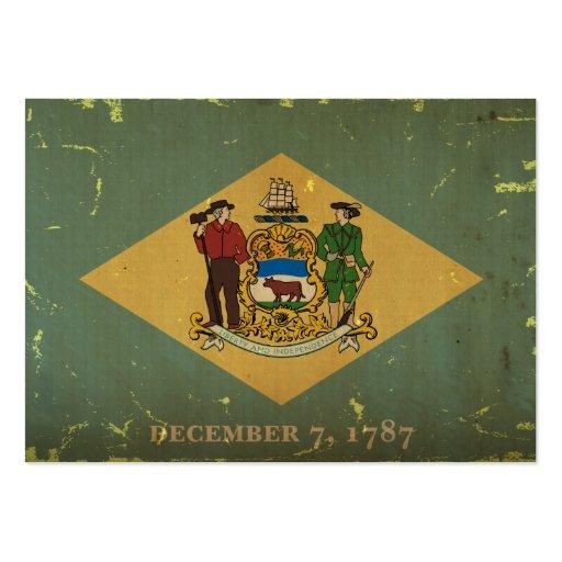 Bandeira VINTAGE.png do estado de Delaware Cartao De Visita