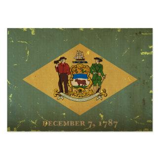 Bandeira VINTAGE.png do estado de Delaware Cartão De Visita Grande