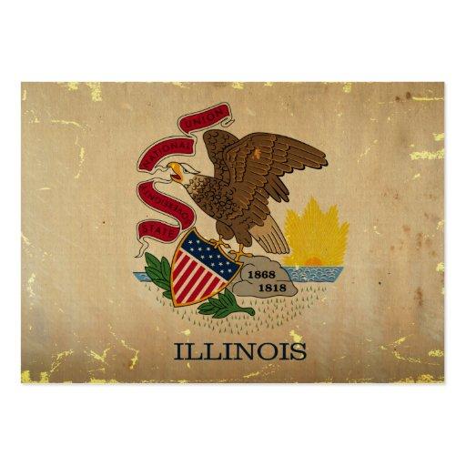 Bandeira VINTAGE.png do estado de Illinois Cartões De Visitas