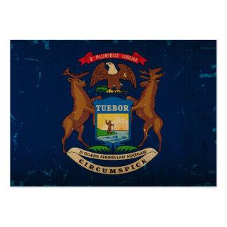 Bandeira VINTAGE.png do estado do Michigan Cartões De Visita