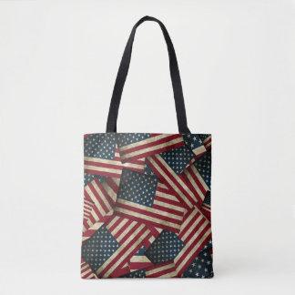 Bandeiras americanas afligidas bolsa tote