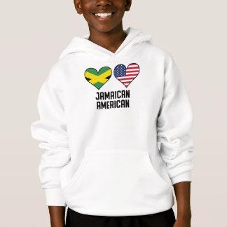 Bandeiras americanas jamaicanas do coração