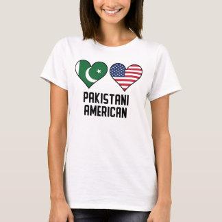 Bandeiras americanas paquistanesas do coração camiseta