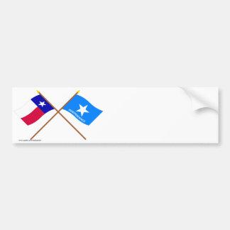 Bandeiras cruzadas da independência de Texas e de Adesivo Para Carro