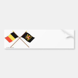 Bandeiras cruzadas de Bélgica e de Brabante do Fle Adesivos