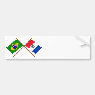 Bandeiras cruzadas de Brasil e de Alagoas Adesivo