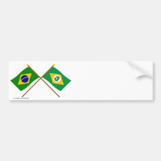 Bandeiras cruzadas de Brasil e de Ceará Adesivo Para Carro