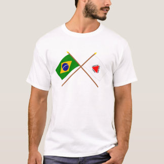 Bandeiras cruzadas de Brasil e de Minas Gerais Camiseta