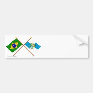 Bandeiras cruzadas de Brasil e de Rio de Janeiro Adesivos