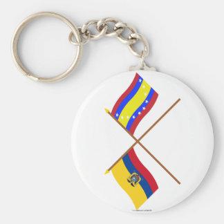 Bandeiras cruzadas de Equador e de Loja Chaveiro