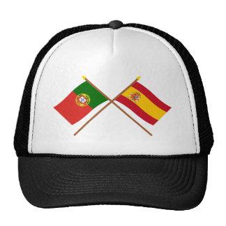 Bandeiras cruzadas de Portugal e da espanha Boné