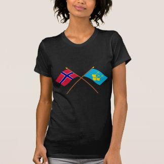 Bandeiras cruzadas do og Romsdal de Noruega e de Tshirts