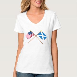Bandeiras cruzadas dos EUA e do Scotland (cruz) Camisetas