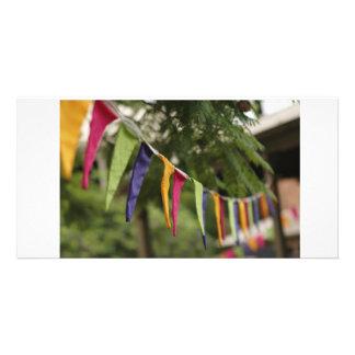 Bandeiras da celebração cartões com fotos personalizados