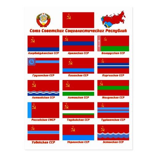 Bandeiras da URSS Cartoes Postais