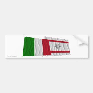 Bandeiras de ondulação de Italia e de Toscana Adesivo Para Carro