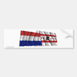 Bandeiras de ondulação de Países Baixos & de Drent Adesivo Para Carro