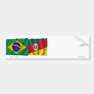 Bandeiras de ondulação de Rio Grande do Sul & de B Adesivo Para Carro
