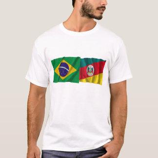 Bandeiras de ondulação de Rio Grande do Sul & de Camiseta