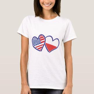 Bandeiras do coração do Polônia dos EUA Camiseta