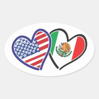 Bandeiras do coração dos EUA México Adesivo Oval