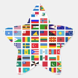bandeiras do mundo contra o branco adesivo estrela