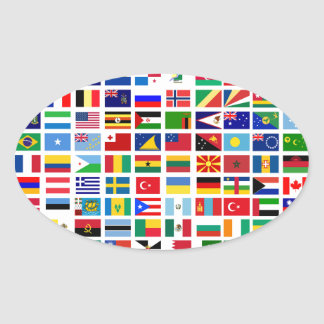 bandeiras do mundo contra o branco adesivo oval