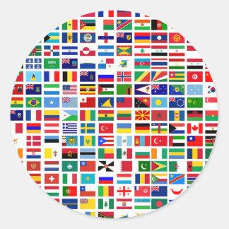 bandeiras do mundo contra o branco adesivo redondo