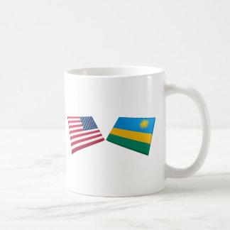 Bandeiras dos E.U. & do Rwanda Caneca De Café