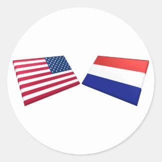 Bandeiras dos E.U. & dos Países Baixos Adesivo