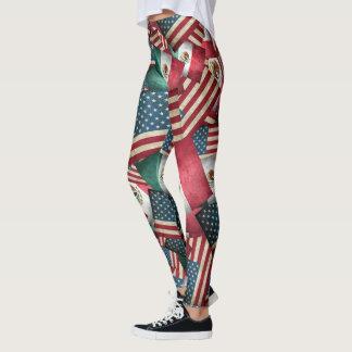 Bandeiras mexicanas/americanas afligidas - E.U. & Legging