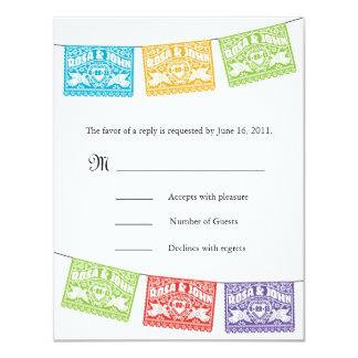Bandeiras RSVP do casamento de Papel Picado dos Convite 10.79 X 13.97cm
